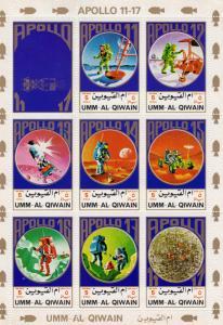 UMM AL QIWAIN 1972 SPACE APOLLO 11-17 Sheetlet (8) Mi.#922/29A MNH VF