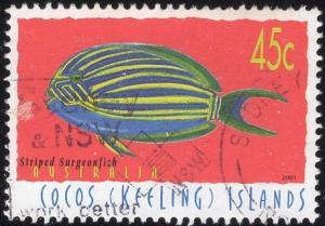 Cocos Islands 335b - Used - 45c Striped Surgeonfish (2001) (cv $0.90)