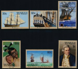 Tuvalu 1988 MNH Stamps Scott 490-495 Voyages of Captain Cook Ships Discoveries
