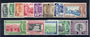 Montserrat 1950 sg 123 - 135 George VI set of 13, fine UM