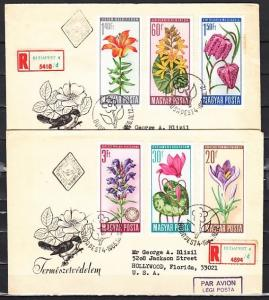 Hungary, Scott cat. 1740-1745. Flowers issue. Reg`td. 2 First day covers.