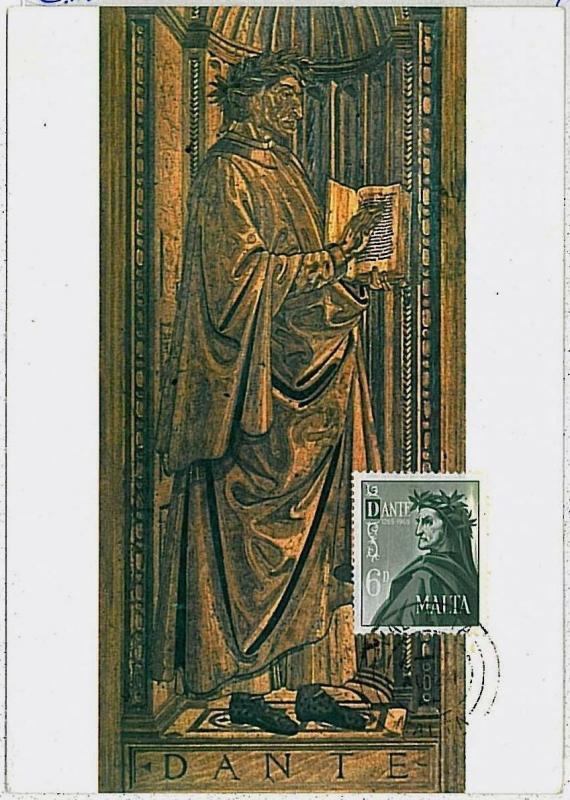 MAXIMUM CARD - MALTA : Dante Alighieri LITTERATUTE - 1965 #1