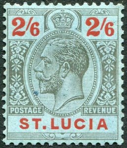 ST LUCIA-1924 2/6 Black & Red/Blue Sg 104 MOUNTED MINT V33911