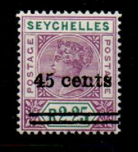 SEYCHELLES SG45a 1902 45c on 2r25 BRIGHT MAUVE & GREEN NARROW 5 MTD MINT