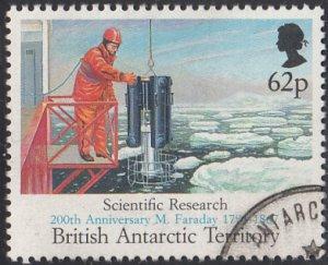 British Antarctic Territory 1991 used Sc #191 62p Scientific research Faraday...