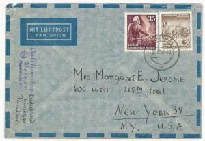Germany DDR Scott #143 #150 on Cover Air Mail to New York USA May 30, 1953