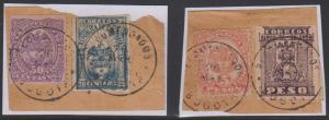 COLOMBIA 1902 Sc 155 + 286 & 158 + 272 ON PIECES RECOMENDADO BOGOTA Cds' RARE!