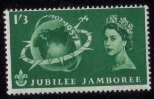 Great Britain Sc #336 MNH 1SHILLING 3P GREENSIGNED ON REVERSE  F-VF