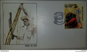 RL) 1980 COLOMBIA, CALI FAIR, TOURISM, BULLFIGHTER, BULL, PEOPLE, FDC ( XII -201
