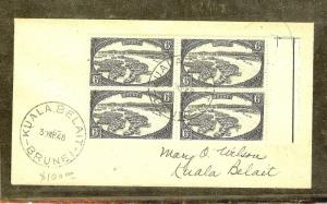 BRUNEI (P1106B) 1948 6C BLACK  BL OF 4 ON LOCAL COVER