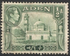 ADEN Arabian Gulf  1942 Sc 16a  Used F, 1/2a KGVI Mosque