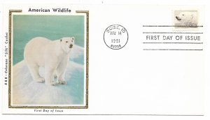 US 1885 18c Wildlife Polar Bear on FDC Colorano Silk Cachet Variety ECV $12.50