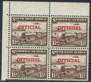 SOUTH WEST AFRICA 1951 OFFICIAL TRAIN 11/2D MNH ** BLOCK