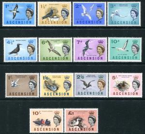 ASCENSION-1963 Birds Set to £1 Sg 70-83 LIGHTLY MOUNTED MINT V26123