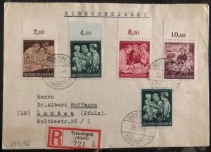 1944 Trossingen Germany Registered Cover To Landau Stamp MI # 869-72