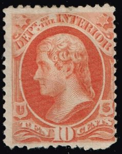 US STAMP BOB #O100 1879 10¢ Jefferson Official Stamp – Interior mhr/og stamp