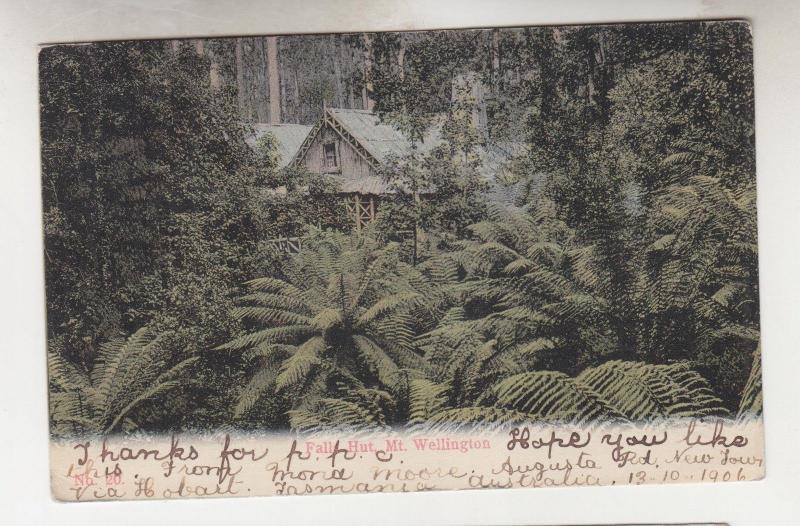 TASMANIA,1906 ppc. Mt. Wellington, Falls Hut, 1/2d. & 1d. AUGUSTA GATE to Italy