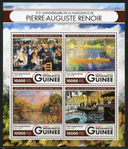 GUINEA 2016  175th BIRTH ANNIVERSRAY OF PIERRE-AUGUSTE RENOIR  PAINTING SHEET NH