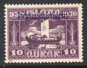 Iceland  Sc  O56 1930 10 aur Longship Offcial overprint stamp mint