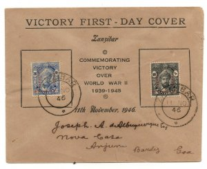 Zanzibar 1946 Victory Illustrated FDC First Day Cover to Goa WS24249