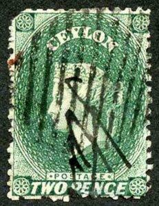 Ceylon SG50 2d Grey-green Wmk Crown CC Used
