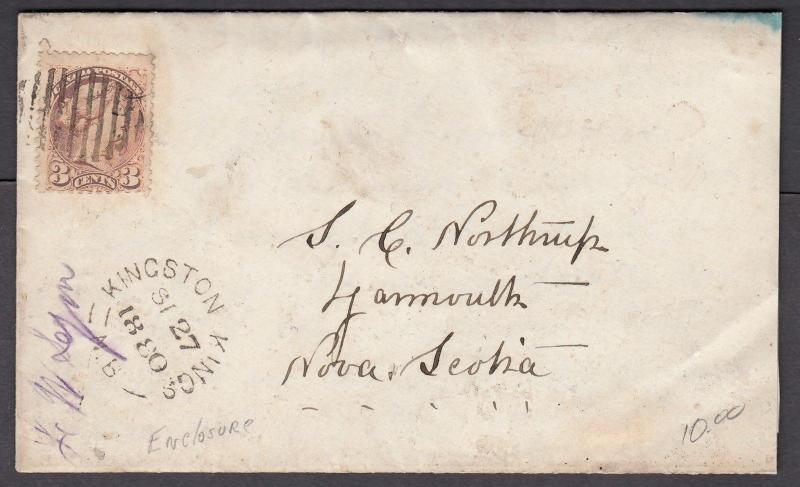 NEW BRUNSWICK SPLIT RING TOWN CANCEL COVER KINGSTON KINGS