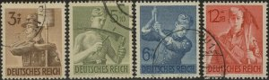 Stamp Germany Mi 850-3 Sc B237-40 1943 WWII 3rd Reich Labor Workers Service Used