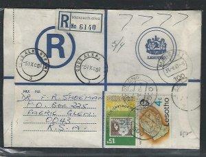 LESOTHO  (PP0310B) 1981  RLE+4C+15C REG MOKHOTLONG TO SOUTH AFRICA