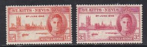 St Kitts - Nevis #  91-92, Peace Issue, Hinged, 1/3 Cat.