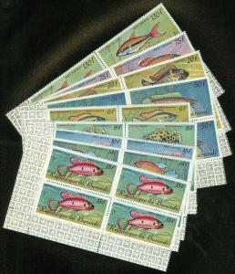 EDW1949SELL : BURUNDI 1967 Scott #C46-54 Fish. Blocks of 4. VF MNH. Catalog $156
