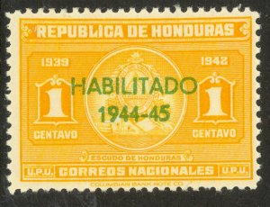 HONDURAS 1944 1c HABILITADO 1944-45 Overprint Issue Sc 342 MLH
