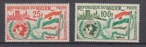 J28778 1961 niger set mnh #c20-1 flag/airplane