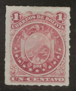 Bolivia Scott 24 MH* Rouletted arms stamp