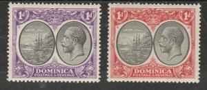 DOMINICA 1923 KGV SHIP 1D X 2