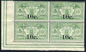 New Hebrides Fr 40 block/4,MNH.Michel 70. Coat of Arms,new value,1924.