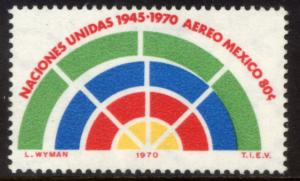 MEXICO C376Var 25th Anniv United Nations w/green shifted