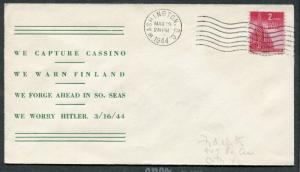 EVENT CACHET WWII - March 16 1944 - Capture Cassino Warn Finland Hitler - S7902