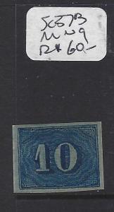 BRAZIL (P2302BB)   NUMERAL 10R BLUE SC 37B    MNG