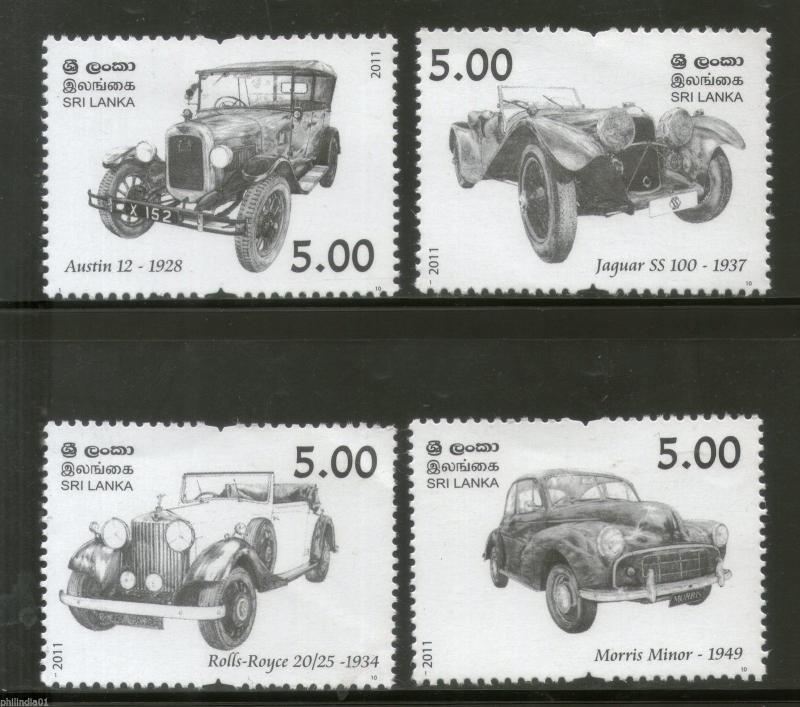 Sri Lanka 2011 Vintage and Classic Cars Transport Automobile 4v MNH # 129