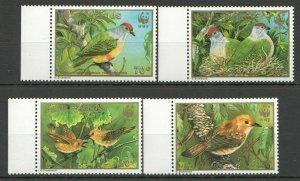 H737 1989 COOK ISLANDS WWF FAUNA BIRDS #1278-81 MICHEL 15 EURO 1SET FIX