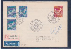 Sweden Scott # 640-642 Registed FDC 1964 Poet