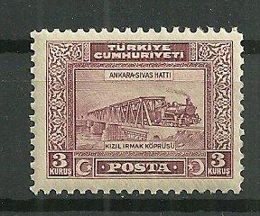 1929 Turkey 3K Train Crossing Bridge MH