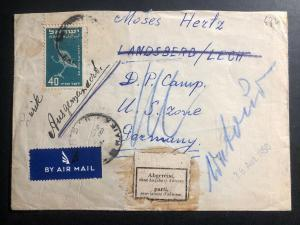 1950 Haifa Israel Airmail Cover to Landsberg Displaced Persons DP Camp Germany