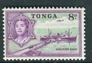 TONGA; 1953 early QEII issue fine Mint hinged 8d. value