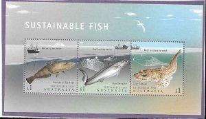 2019    AUSTRALIA  -  SUSTAINABLE FISH MINISHEET  -  MNH