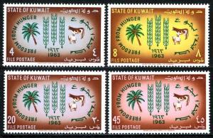 Kuwait 193-196,MNH Fao  Friedenskämpfer Vom Hunger  Campaign. Palm,Kuh,Schaf,