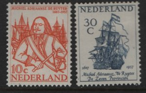 NETHERLANDS  370-371 MINT HINGED ADMIRAL RUYTER SET