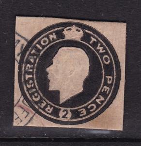 GB George V  2d Cutout Registered Post VFU VGC
