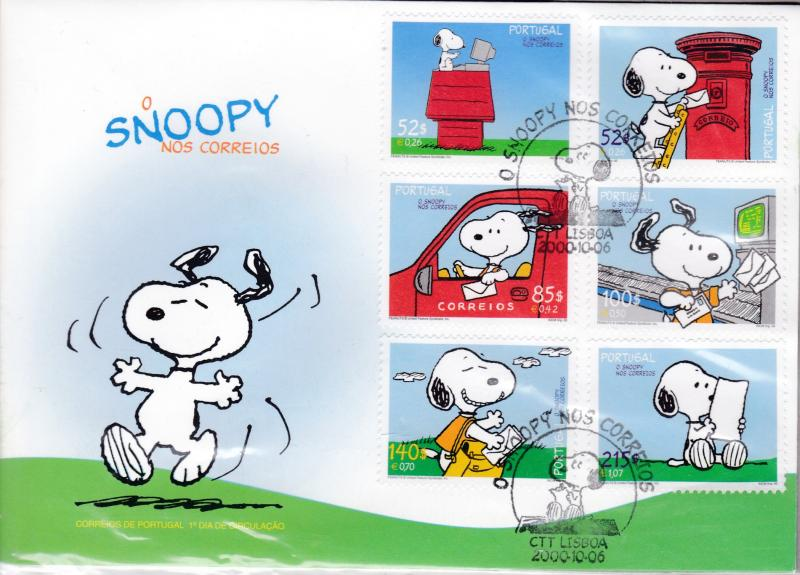 Portugal 2000 Snoopy Set complete (6) on Colorful First Day Cover
