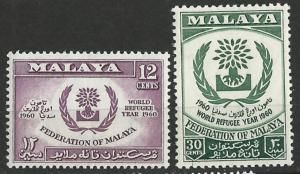 Malaya- # 94-95  World Refugee Year   (2) Mint NH
